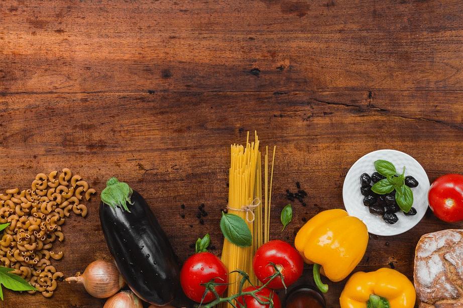 ingrédients nourriture alimentation légumes pain complet pâtes complètes