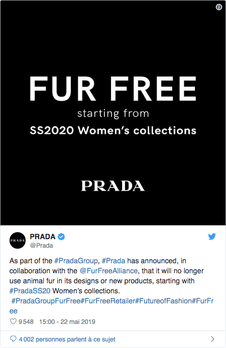 fourrure animale prada tweet