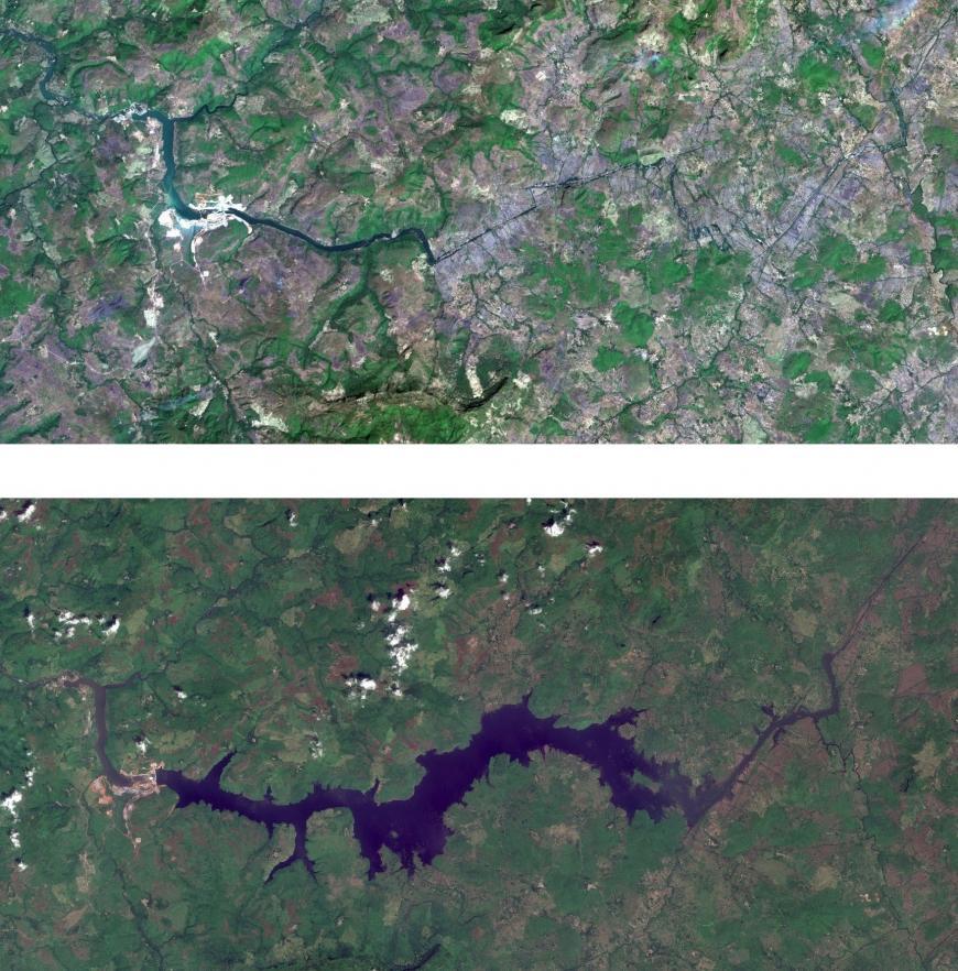 Images satellites : en haut : janvier 2019 - 2e photo : Octobre 2019 : le réservoir du barrage de Souapiti s'est élargi - Crédits : © ESA. Sentinel-2